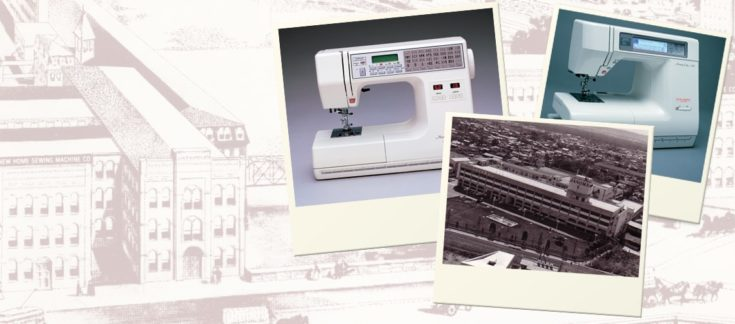 a collage of Janome's old image headquarters and 2 different models of Janome Sewing Machine