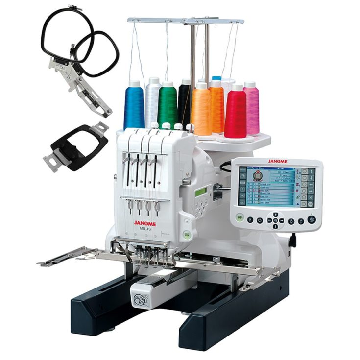 Janome MB-4S Four-Needle Embroidery Machine with included Hat Hoop, Lettering Hoops, Embroidery Designs in white background.