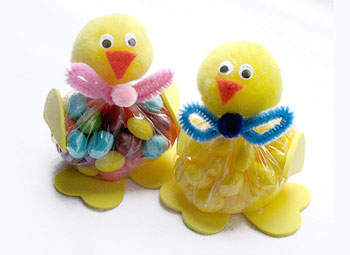 Two Easter jellybean chicks in a white background.