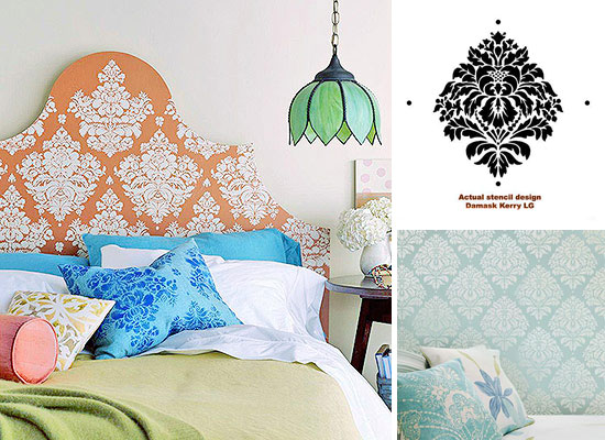 Three stenciled headboard panel