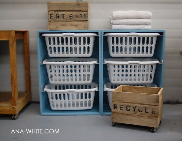 Ana-White Laundry Basket 3 Layer Dresser
