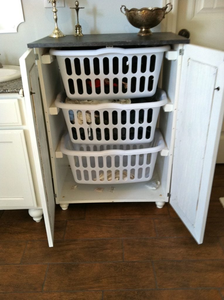 3 Layers Laundry Basket Dresser with Doors