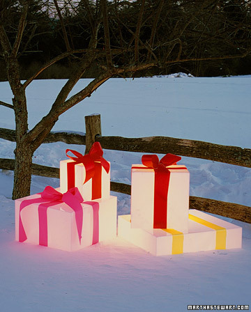 White lighted Christmas boxes by Martha Stewart