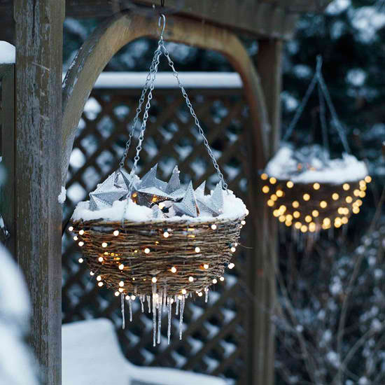 DIY Twig nests with silver stars and light on it hanging on posts