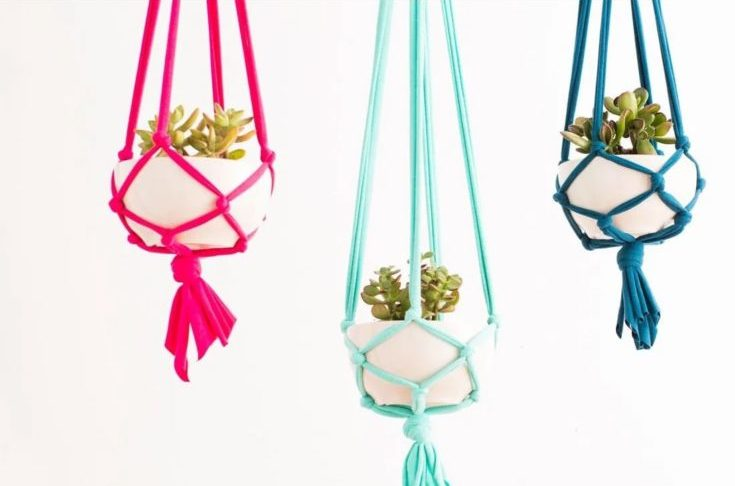 Macrame Hanging Planters in white background