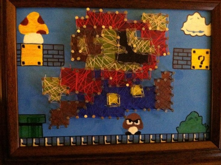 Mario Brothers string art project.