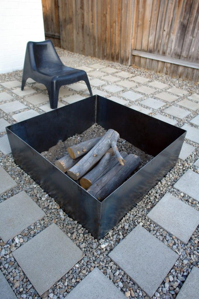 Black Modern Metal Fire Pit