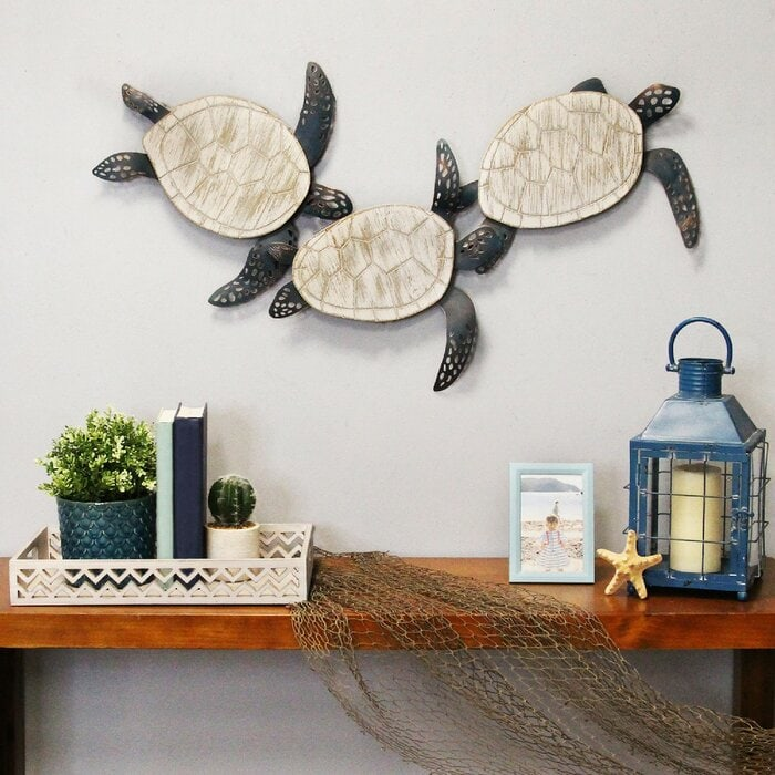 Metal and Wood Carved Turtle Wall Décor