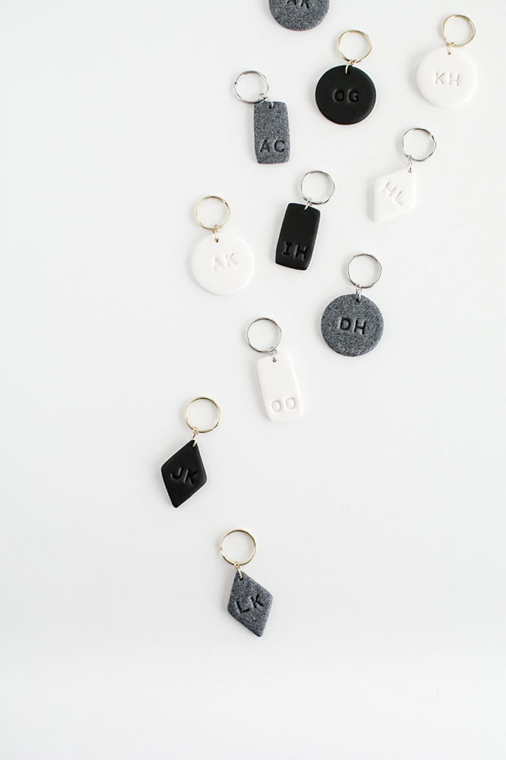 Monogrammed clay keychains