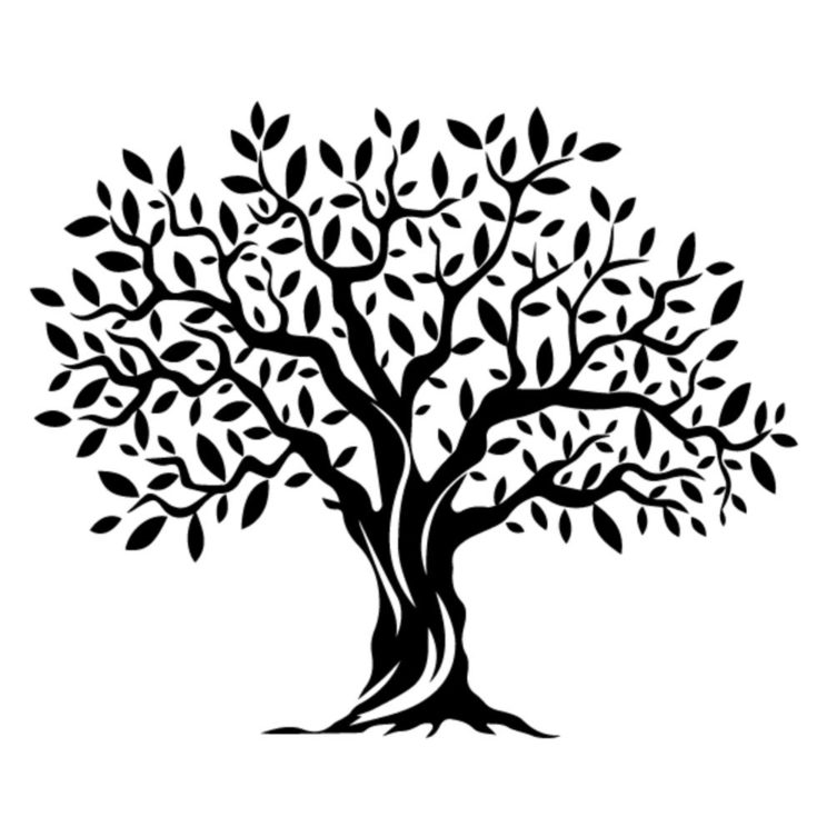 Wood carving tree design in black with white background.