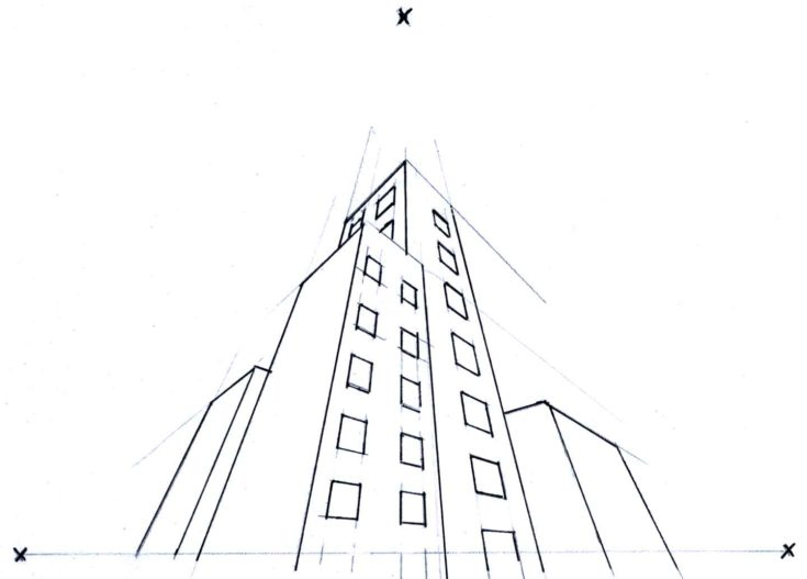 Example of multi-point perspective lay out drawn on white paper.