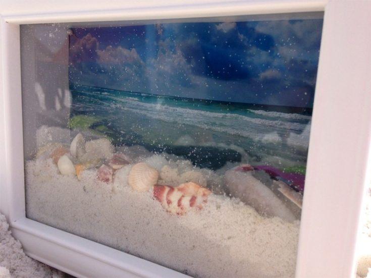 Ocean View Shadow Box white frame