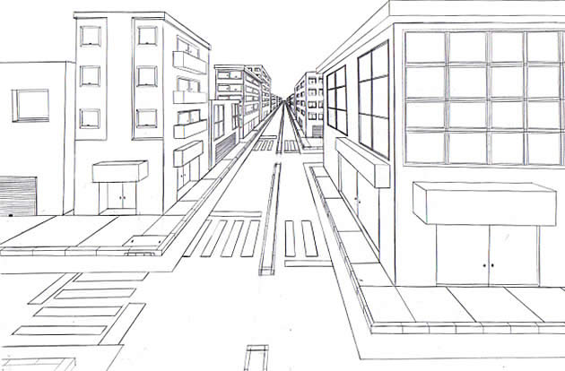 Example of one-point perspective lay out drawn on white paper.