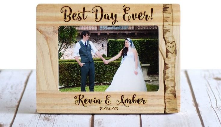 Wedding Frame, Personalized Wedding Gift, Wood Burned Frame, Rustic Wedding Frame, Best Day Ever! Gift for couple, Gift for Bride