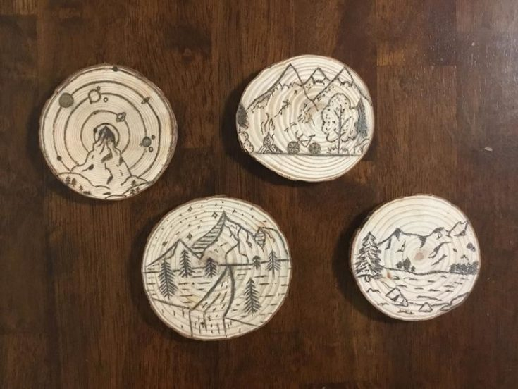 Nature-Inspired coasters laid on wooden table.