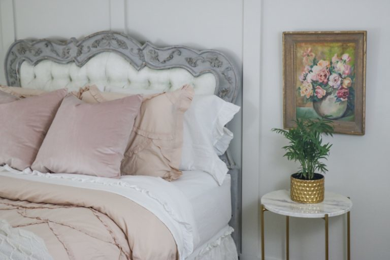 Painted headboard gray and white