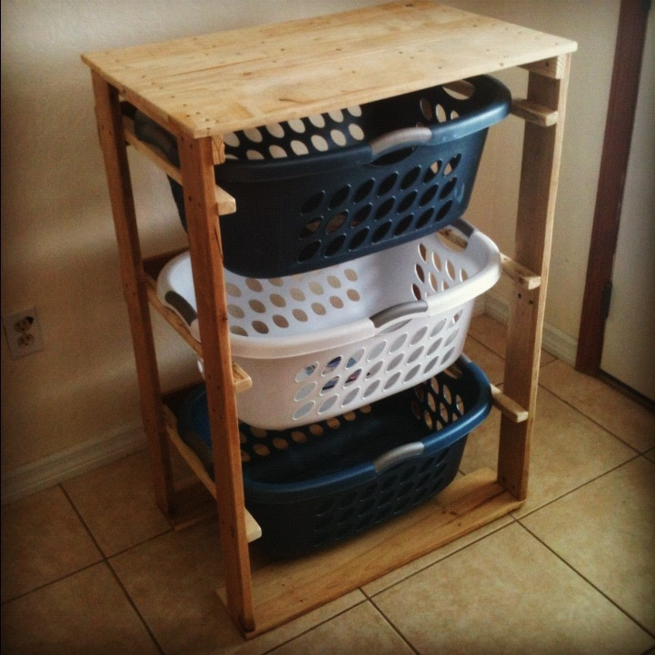 3 Layers Lumber Pallet Laundry Basket Dresser