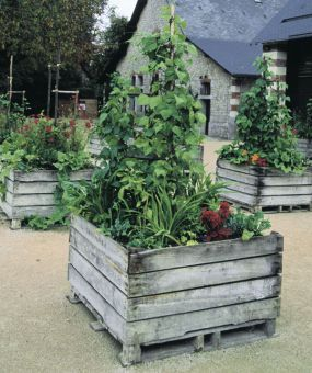 Natural wood pallet garden crates