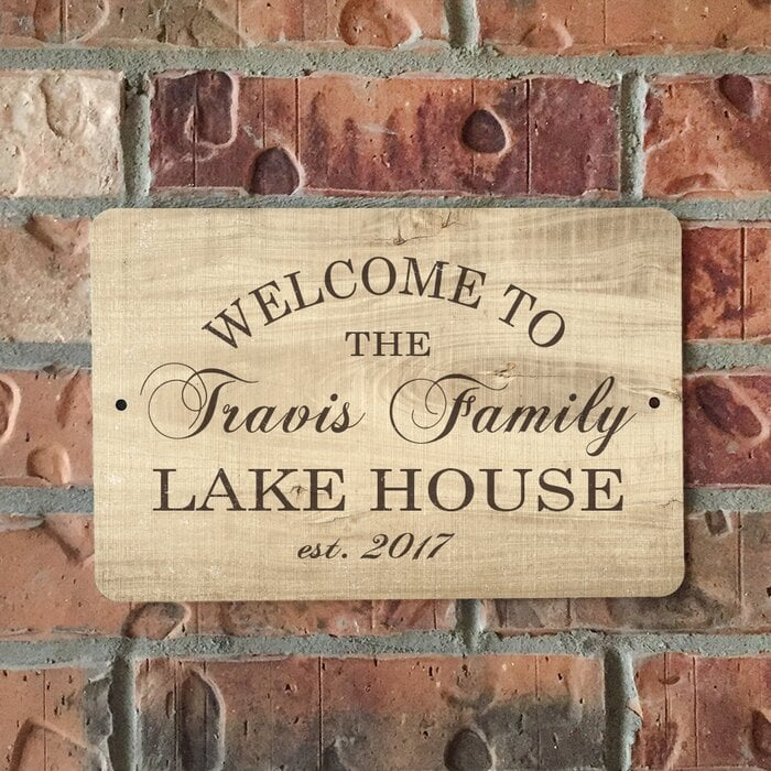 Personalized Wood Grain-Look Lake House Metal Sign Wall Décor