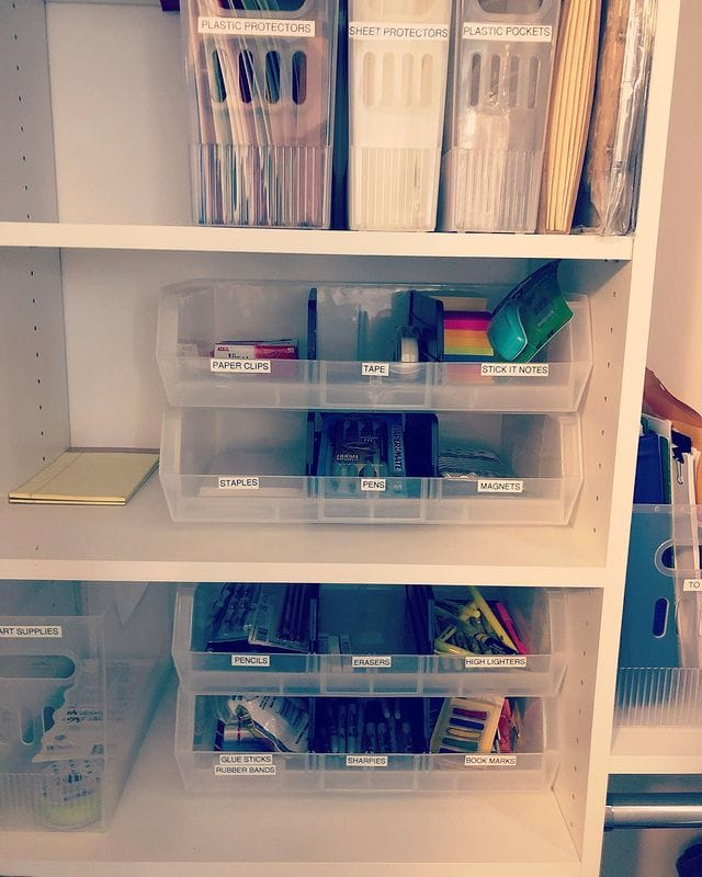 Plastic Bins used for office supplies