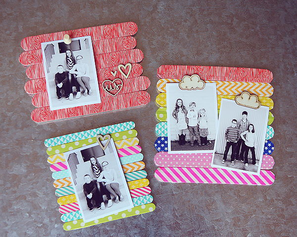 Popsicle Stick Picture Frames in light brown background