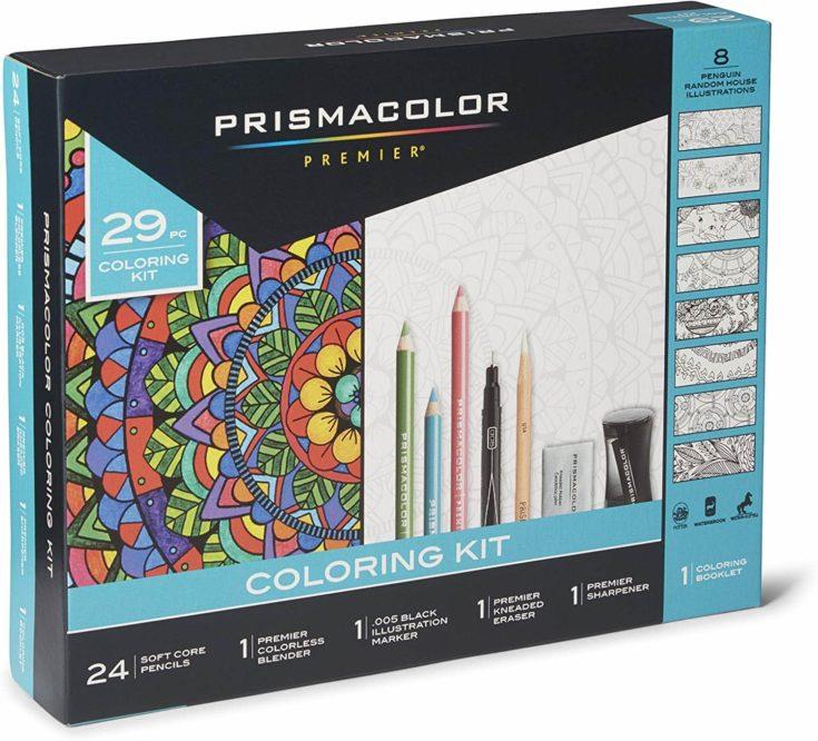 rismacolor Premier Pencils Adult Coloring Kit with Blender, Art Marker, Eraser, Sharpener & Booklet, 29 Piece