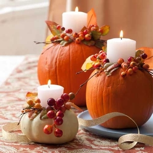 Pumpkin and gourds candle holder thanksgiving centerpiece in different sizes