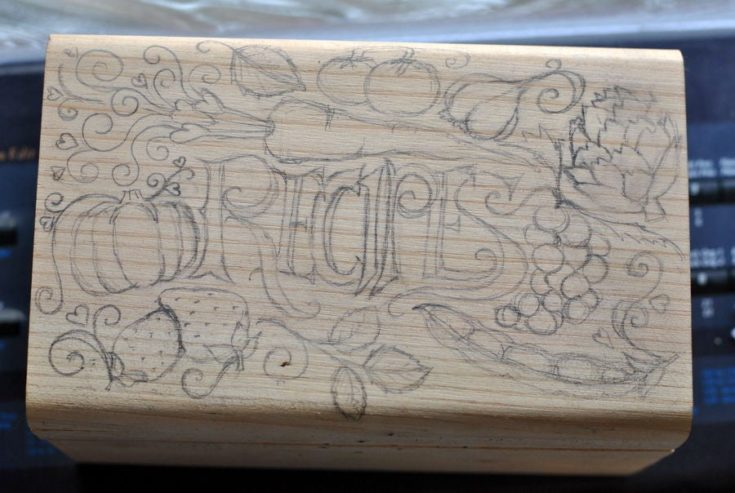 Recipe sketch on a wooden box