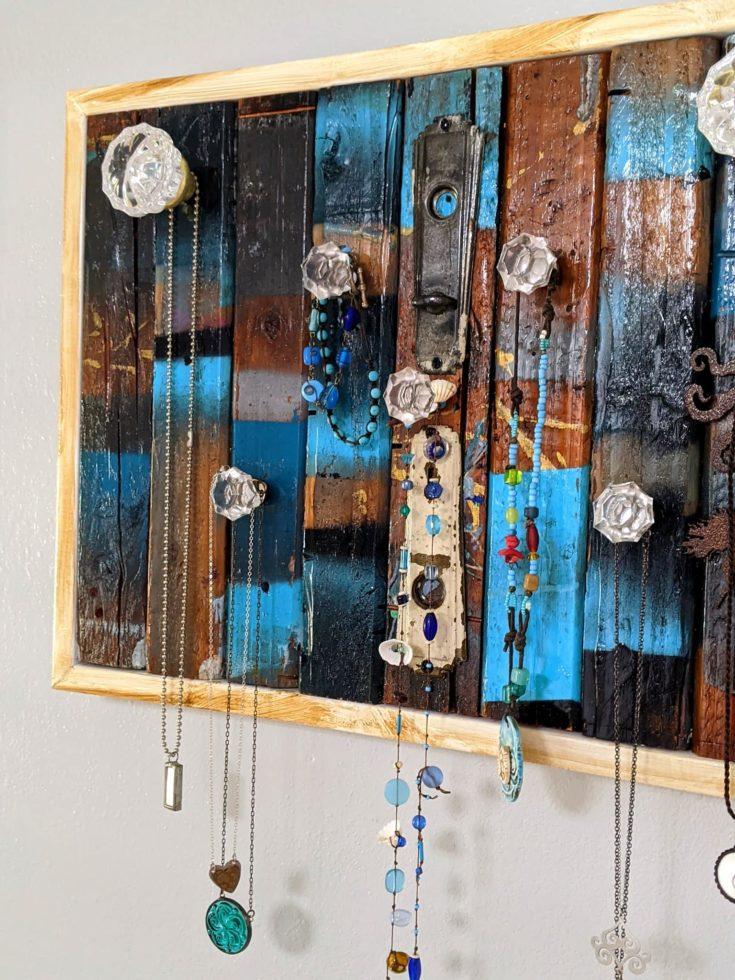 Reclaimed wood jewelry organizer
