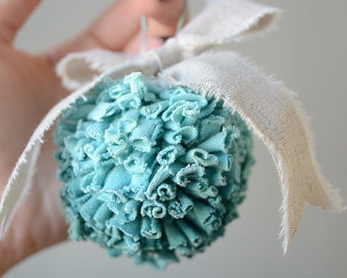Recycled Mint Green Tshirt Ball with White Cloth Ribbon