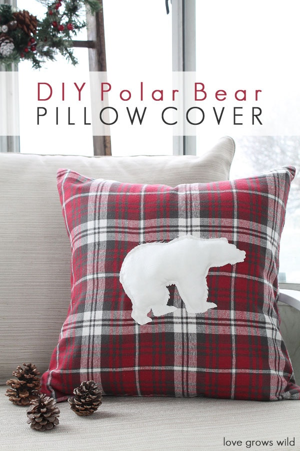 Love Grows Wild DIY Polar Bear Red Pillow Cover