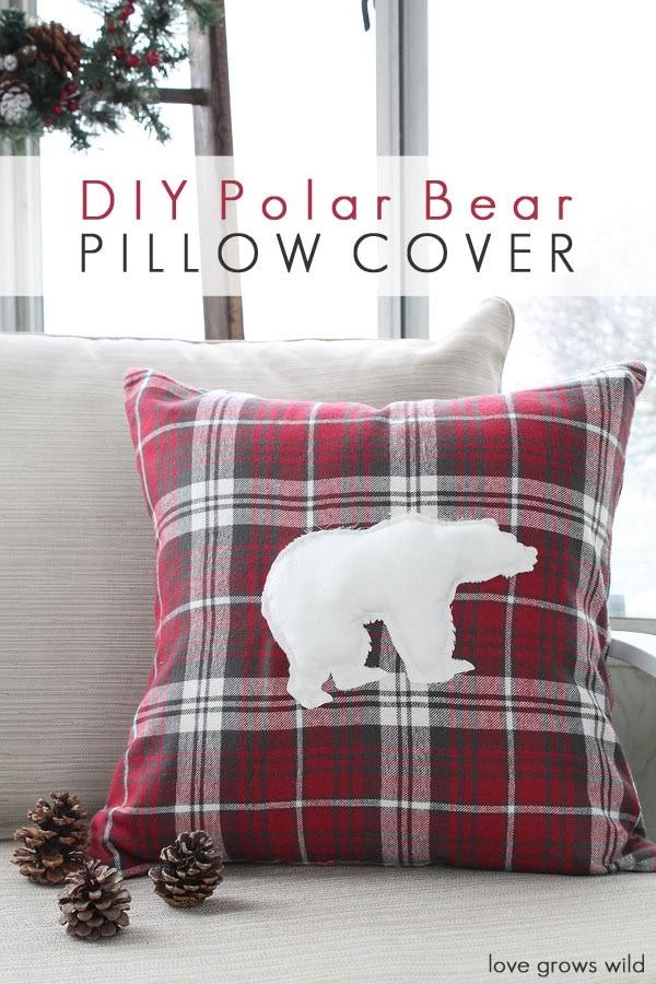 Love Grows Wild DIY Polar Bear Red Pillow Cover