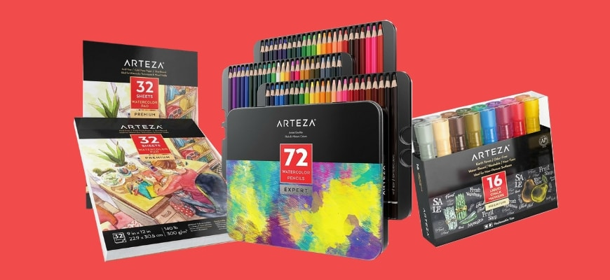 Review of Arteza Art Supplies - various art products by Arteza isolated in red orange background