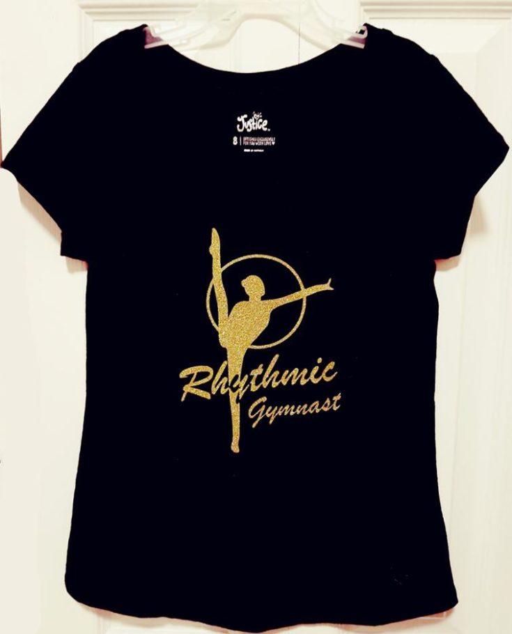 a black t-shirt with Rhythmic Gymnastics Heat Transfer Vinyl design