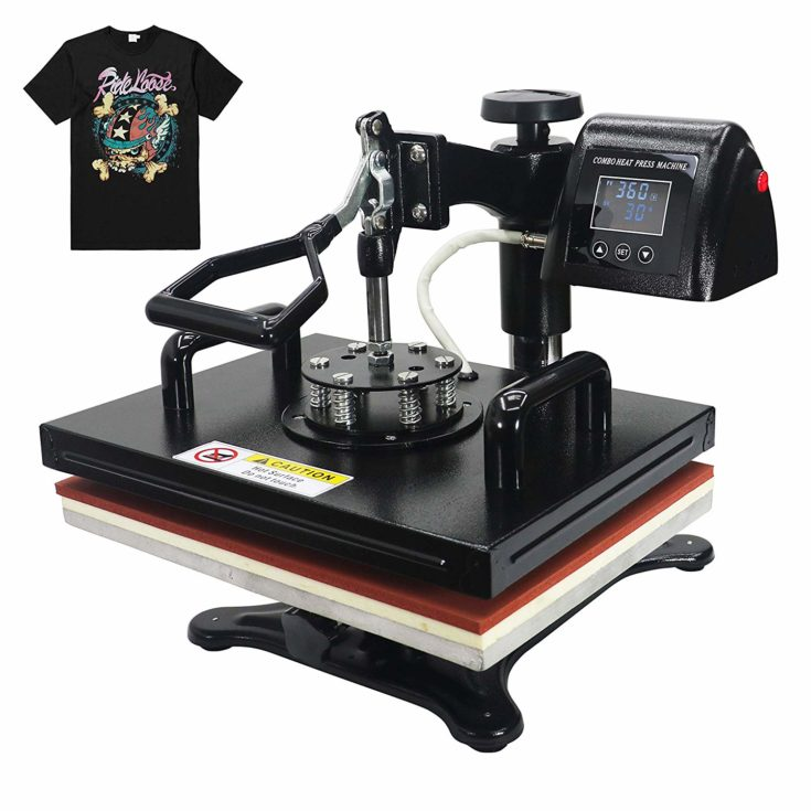 RoyalPress 5 in 1 Heat Press 13 x 18 Color LED 360-degree Rotation Professional Sublimation Multifunction Combo Heat Press Machine Hat/Mug/Plate/Cap/T-Shirt Black (5 in 1)