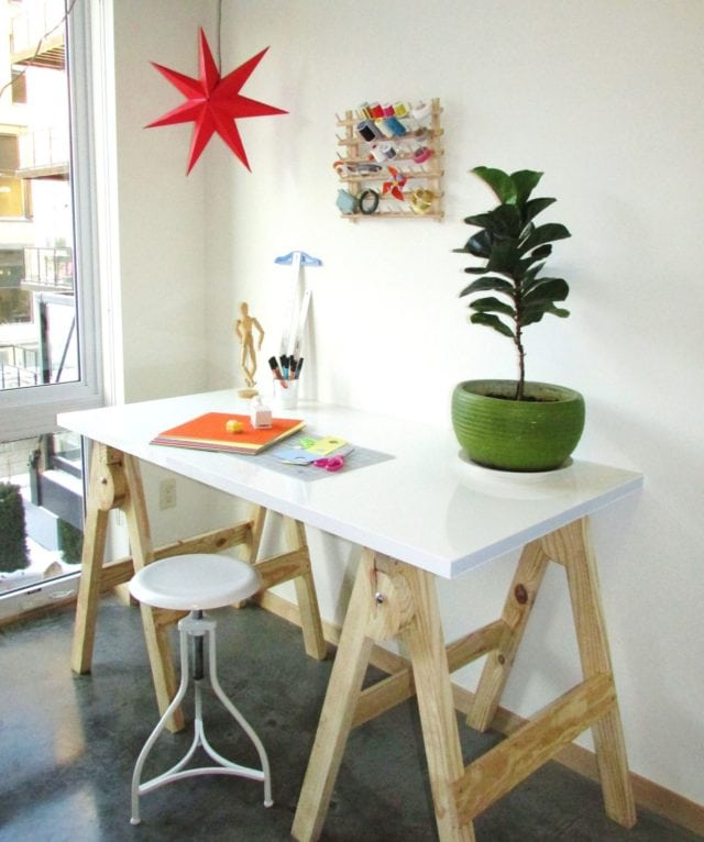 Saw-Horse Craft Table
