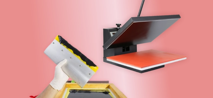 Closeup shot of screen printing materials and heat press machine in peach color background.
