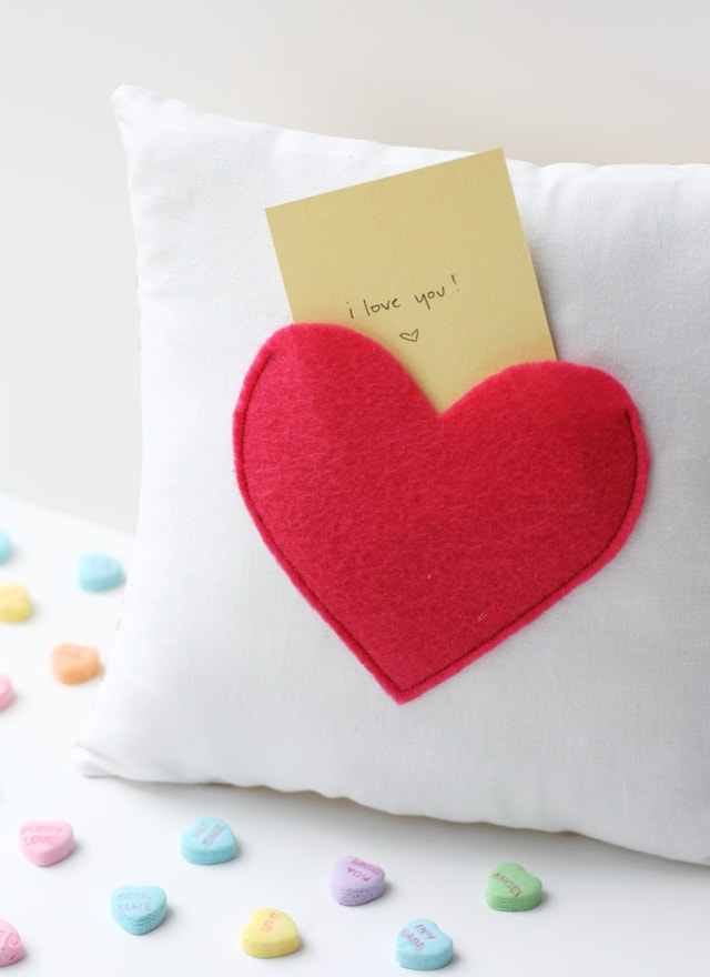 secret pocket pillow heart shape