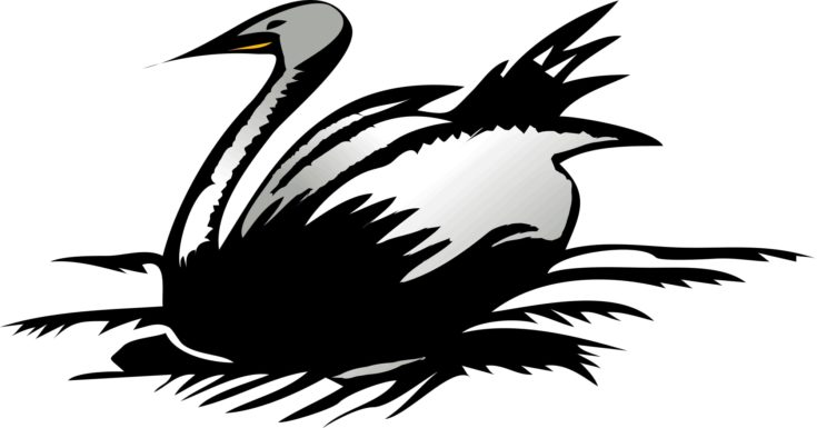 Swan wood carving template in a white background.