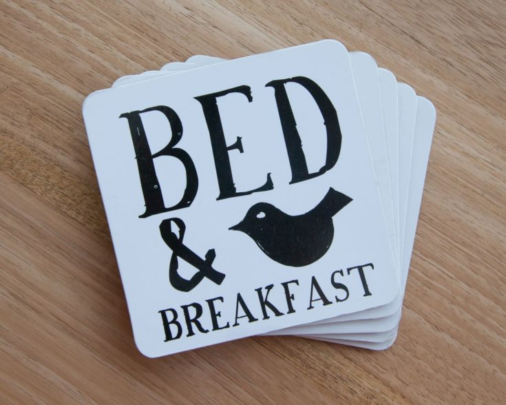 Set of coasters in a bed and breakfast