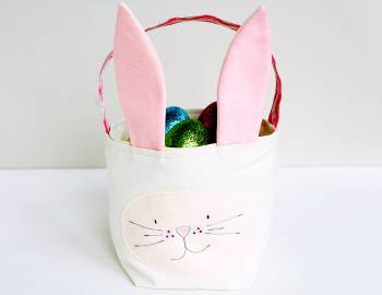 Bunny-themed bag perfect homemade accessory for any egg hunt.