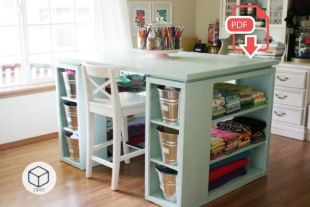 Shelved Craft Table