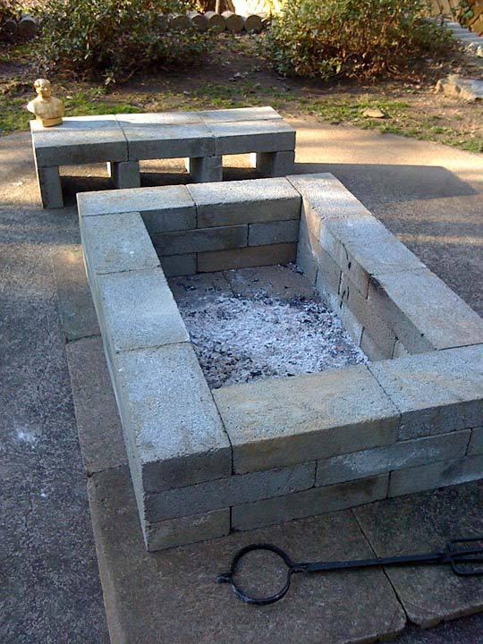 Simple Rectangular Brick Fire Pit