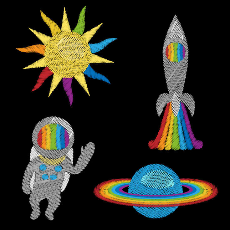 Space embroidery set on black background. Cosmic fashion needlwork pattern with rainbow colors for textile prints, stickers, scrapbooking, patches.