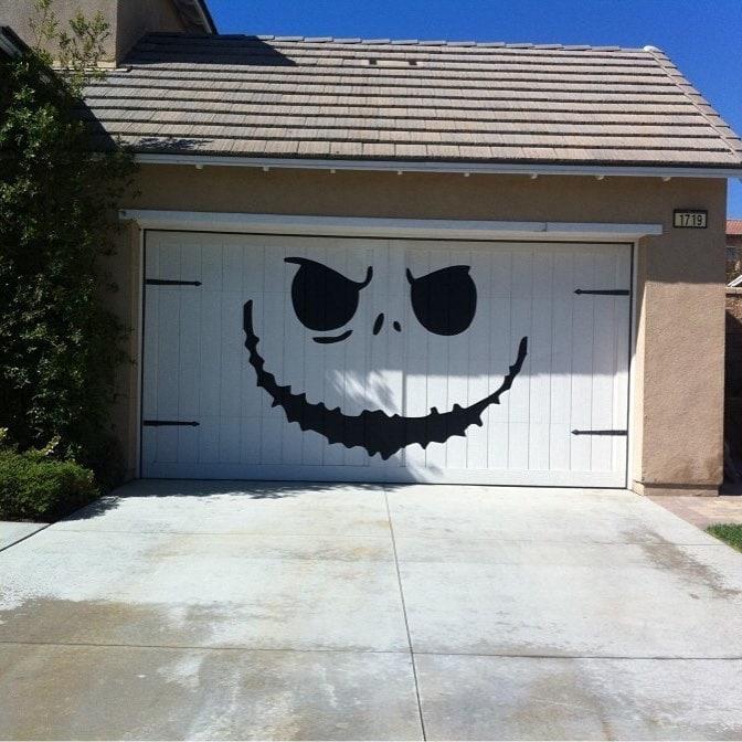 Garage Door with Scary Smile Design