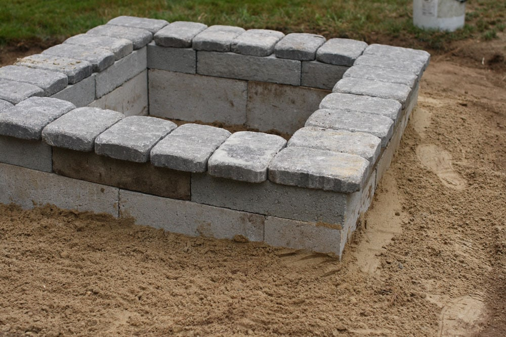 Square stone firepit