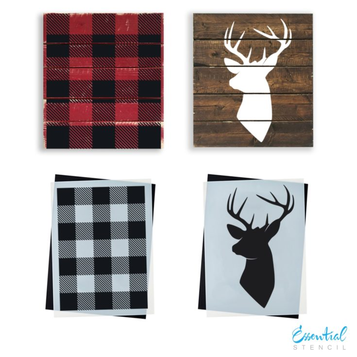 Buffalo Check (Plaid) & Deer Head Silhouette | Sign Stencil (2 Pack)
