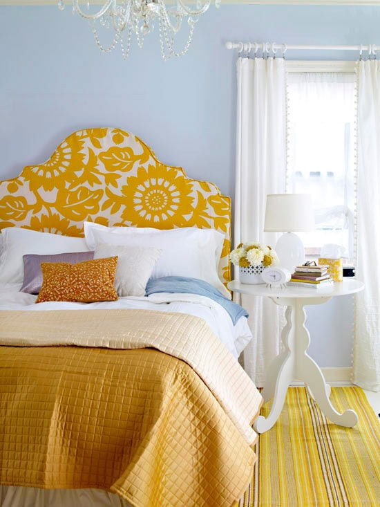 Fancy shape headboard with yellow stencil