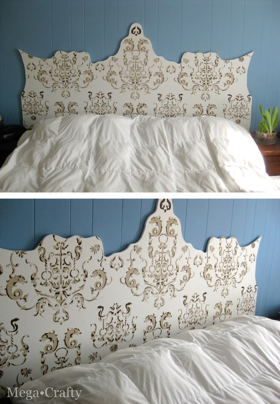 Stenciled fabric headboard by Mega Crafty