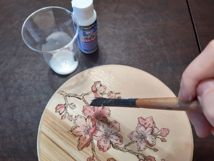 woman's hand Applying a wood finish to her wood project